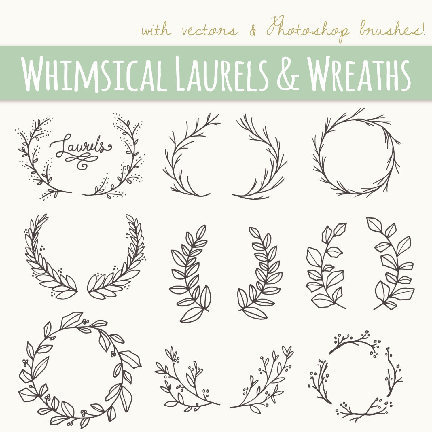 Clip Art Whimsical Laurels Wreaths X2f X2f By Thepenandbrush On Etsy Wreath Clip Art Wreath Clip How To Draw Hands