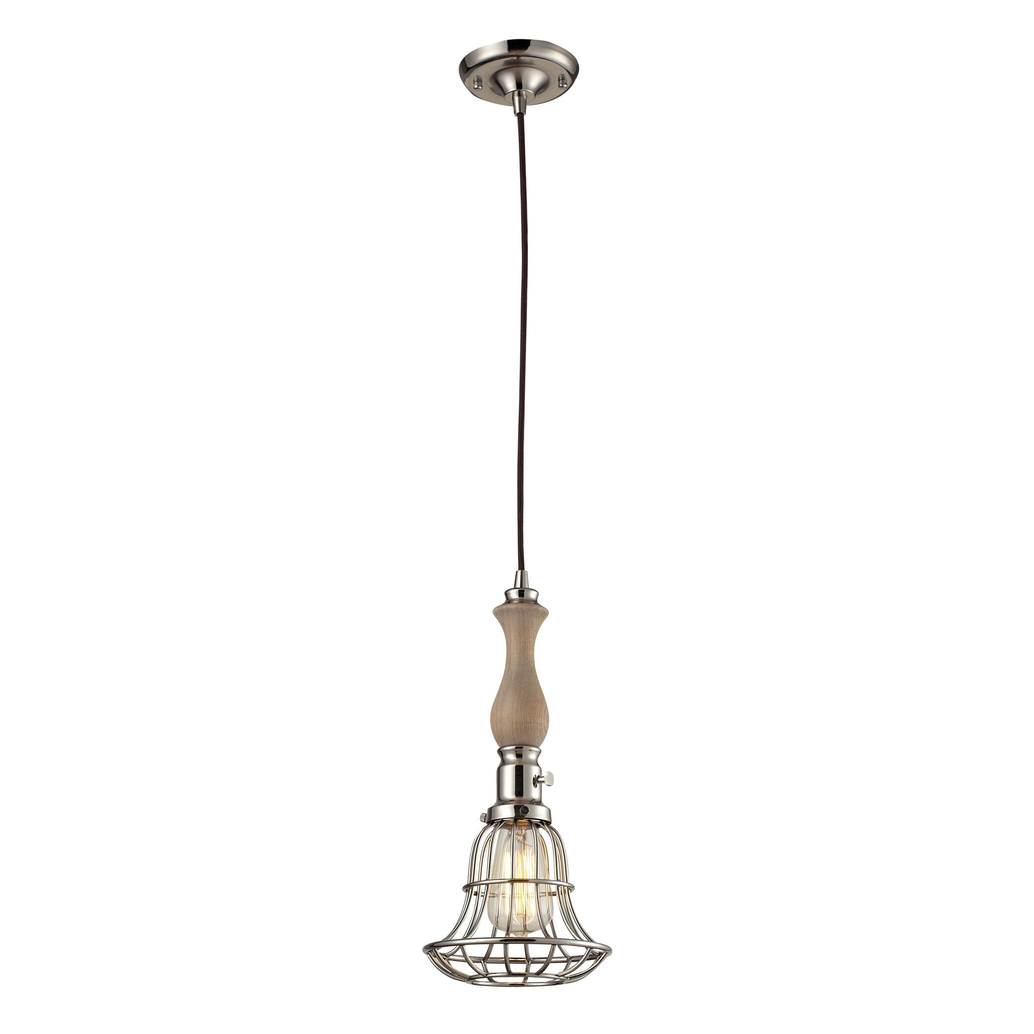 Elk Lighting Spun Wood Single-light Washed Pine/ Polished Nickel Pendant