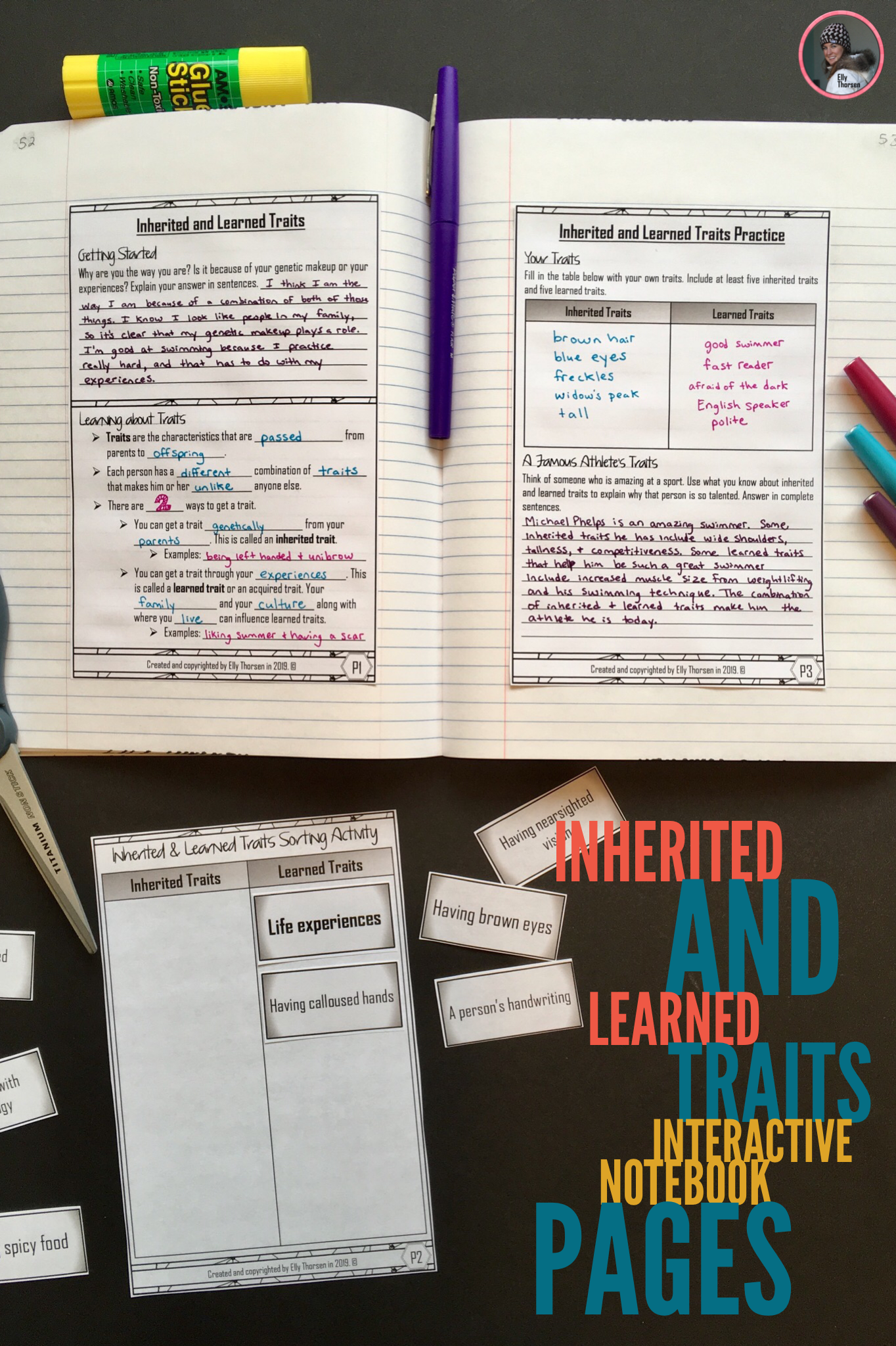 Inherited And Learned Traits Interactive Notebook Pages