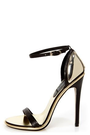 mia limited edition lenny black  gold plated high heel