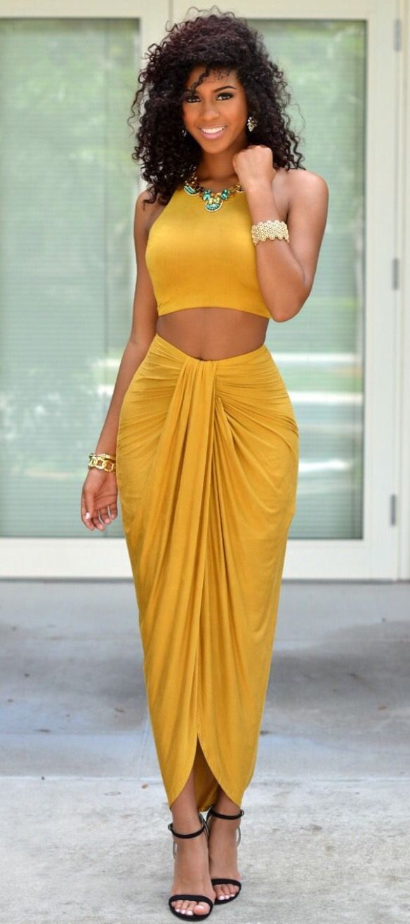 Shades Of Yellow Yellow Dandelion Crop Top Skirt Set