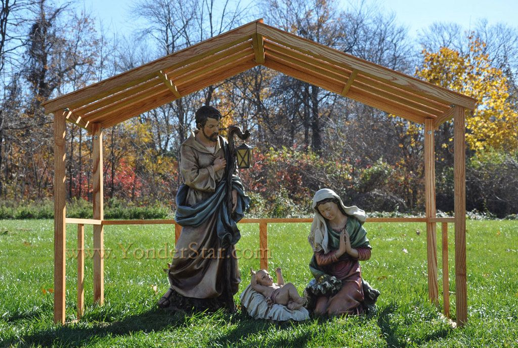 39 Large Outdoor Nativity Set With Hand Made Wooden Stable Outdoor Nativity Outdoor Nativity Scene Outdoor Nativity Sets