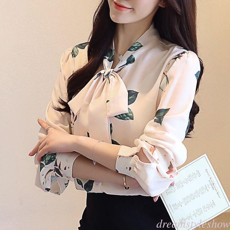 79e83f1c 17.09 | Korean Fashion Women OL Chiffon Tops Floral Bow-Tie Long Sleeve  Career Blouse ❤ #korean #fashion #women #chiffon #tops #floral #long #sleeve  ...
