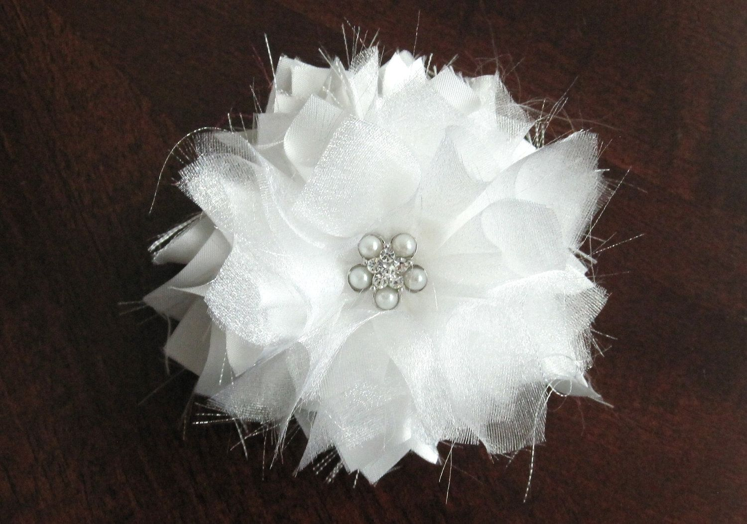 White Or Ivory Satin And Organza Bridal Flower Hair Clip Shabby