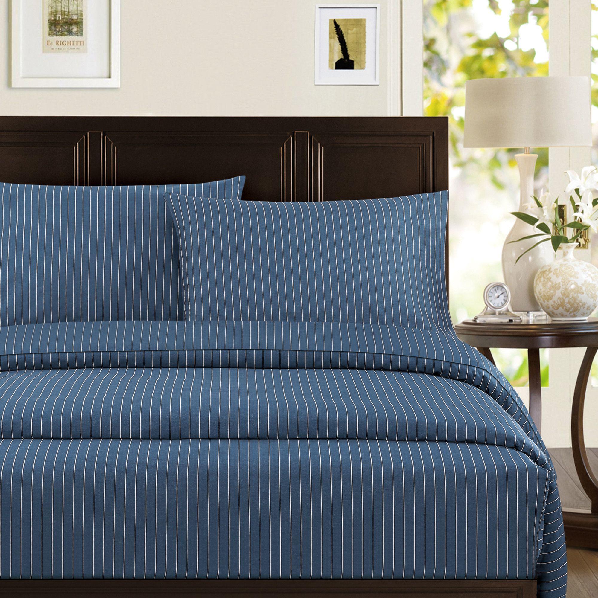 Pinstripe Cotton Sateen Standard Pillowcase