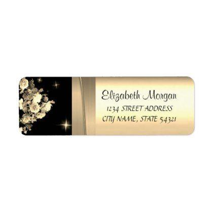 Elegant Chic Luxury ,Faux Gold,Black,Heart Label Elegant chic - sample return address label