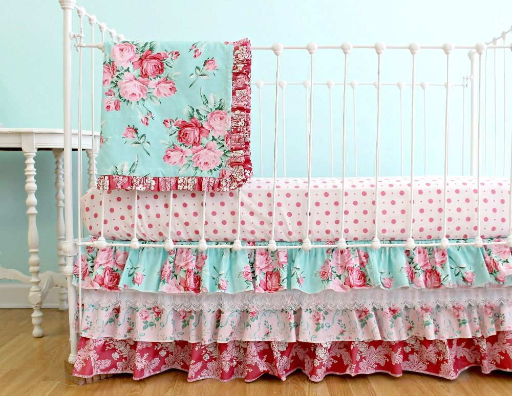 How Darling Is This Vintage-inspired, Yet Fun And Girly Floral Crib Bedding From @lottiedababy