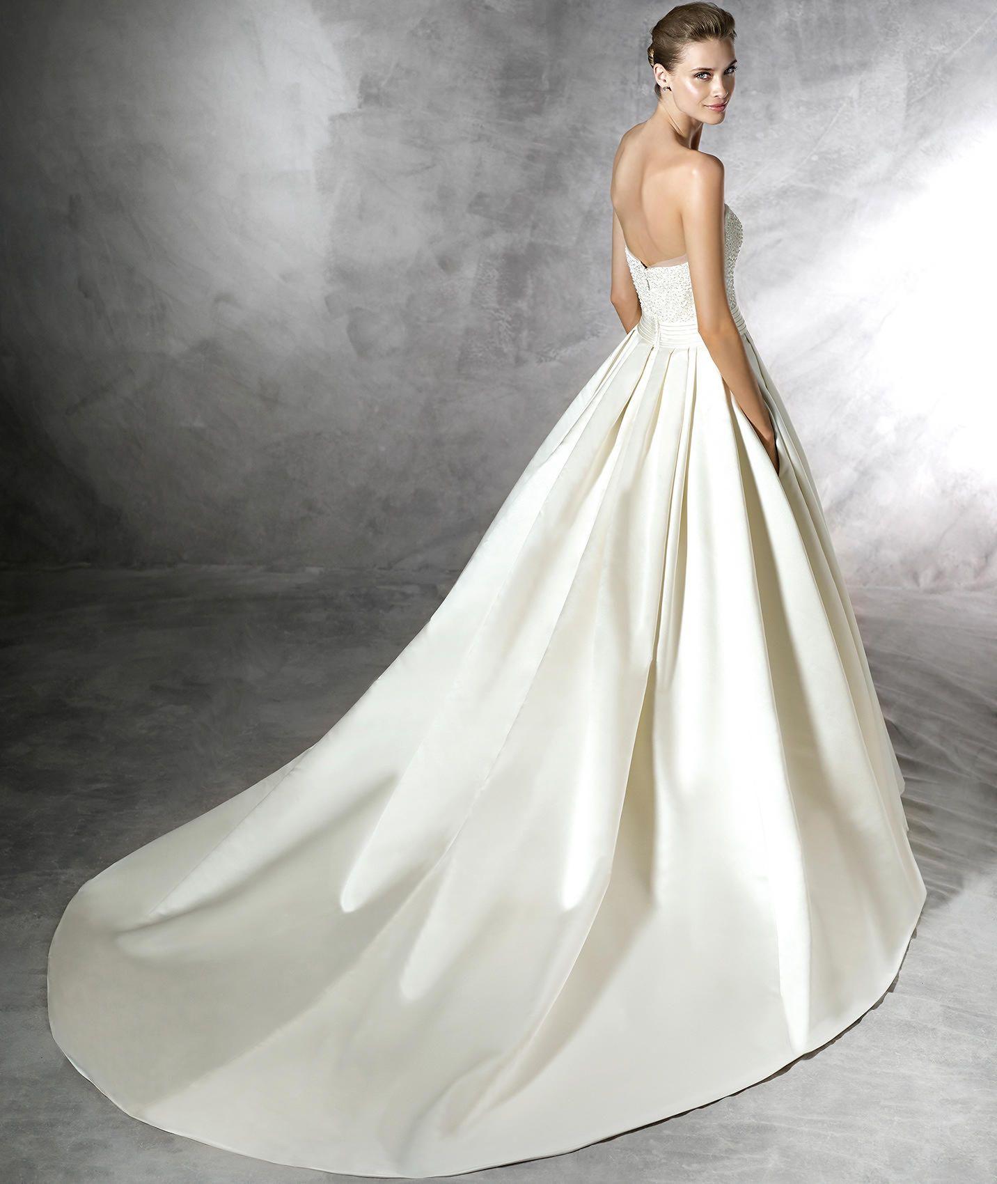 DALAMO - Vestido de novia escote palabra de honor estilo princesa ...