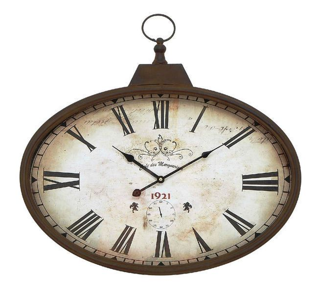 Horizontal Oval Pocket Watch Vintage Style Wall Clock 20 High By 24 Wide With Images Metal Wall Clock Wall Clock Design French Wall Clock