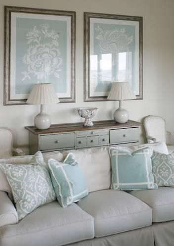 Sofa Fabric And Pillows Painted Chest With Stained Top