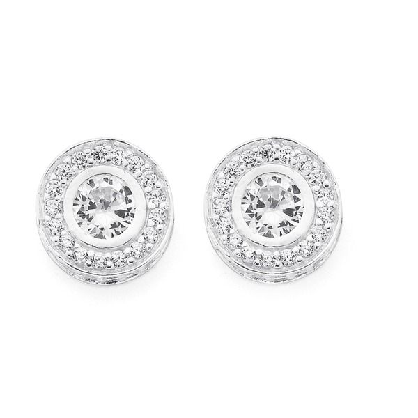 Sterling Silver Fancy Bezel Cubic Zirconia Studs | Pascoes The Jewellers