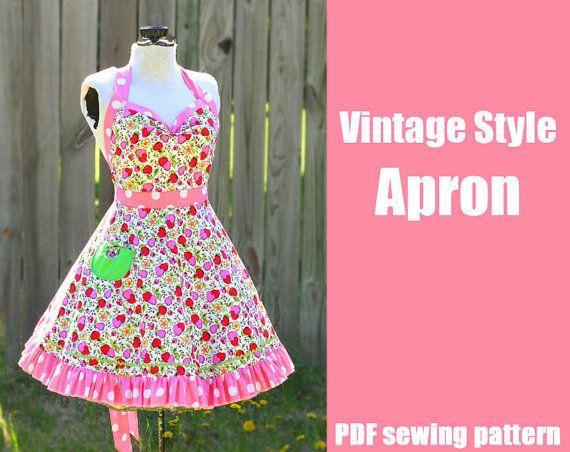 Sew your own Vintage Style Retro Apron - Printable PDF Pattern by WhatTheCraft