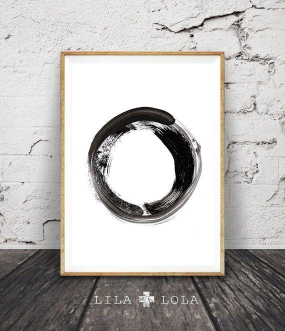 Contemporary Art Brush Stroke Circle Print Black by LILAxLOLA