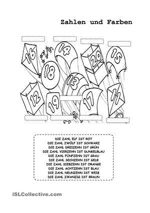 zahlen und farben bildung arbeitsbl tter daf arbeitsbl tter und mathe. Black Bedroom Furniture Sets. Home Design Ideas