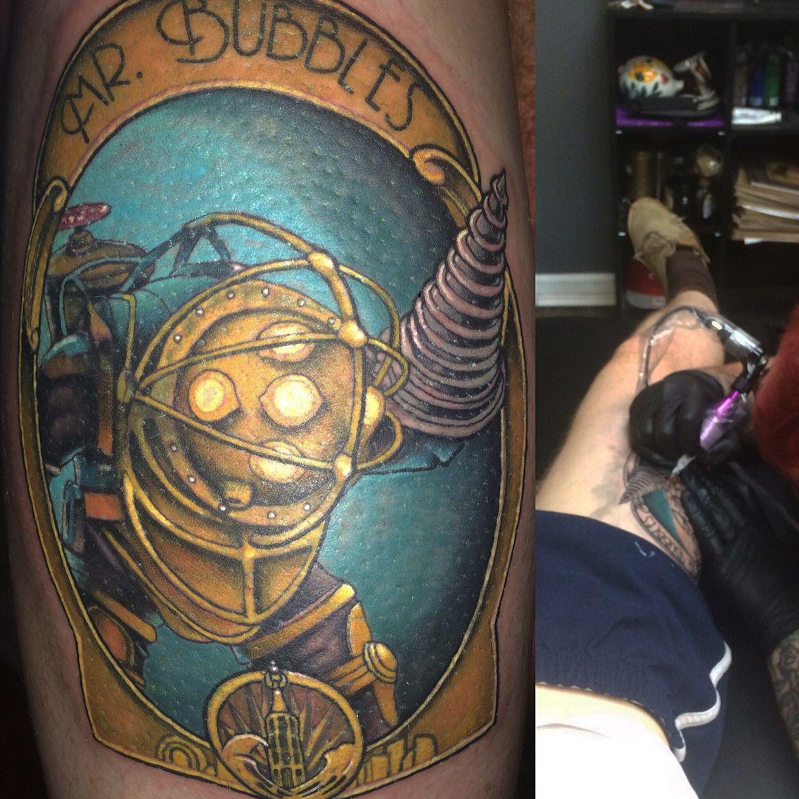 bioshock tattoo mr bubbles big daddy bouncer bioshock pinterest