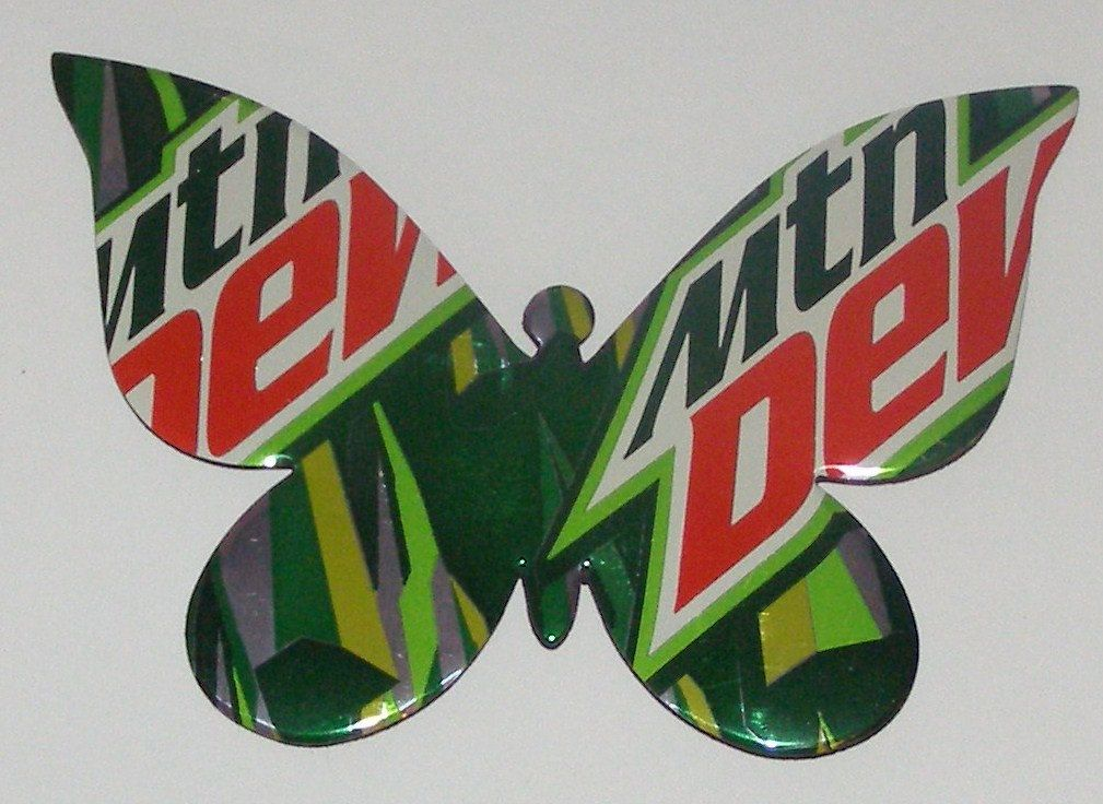 """Butterfly - Mountain Dew Soda Can Magnet, 4-3/4"""" x 3-1/4""""... 4.00, via Etsy. {Here's one way to get my Dew buzz, lol!}"""