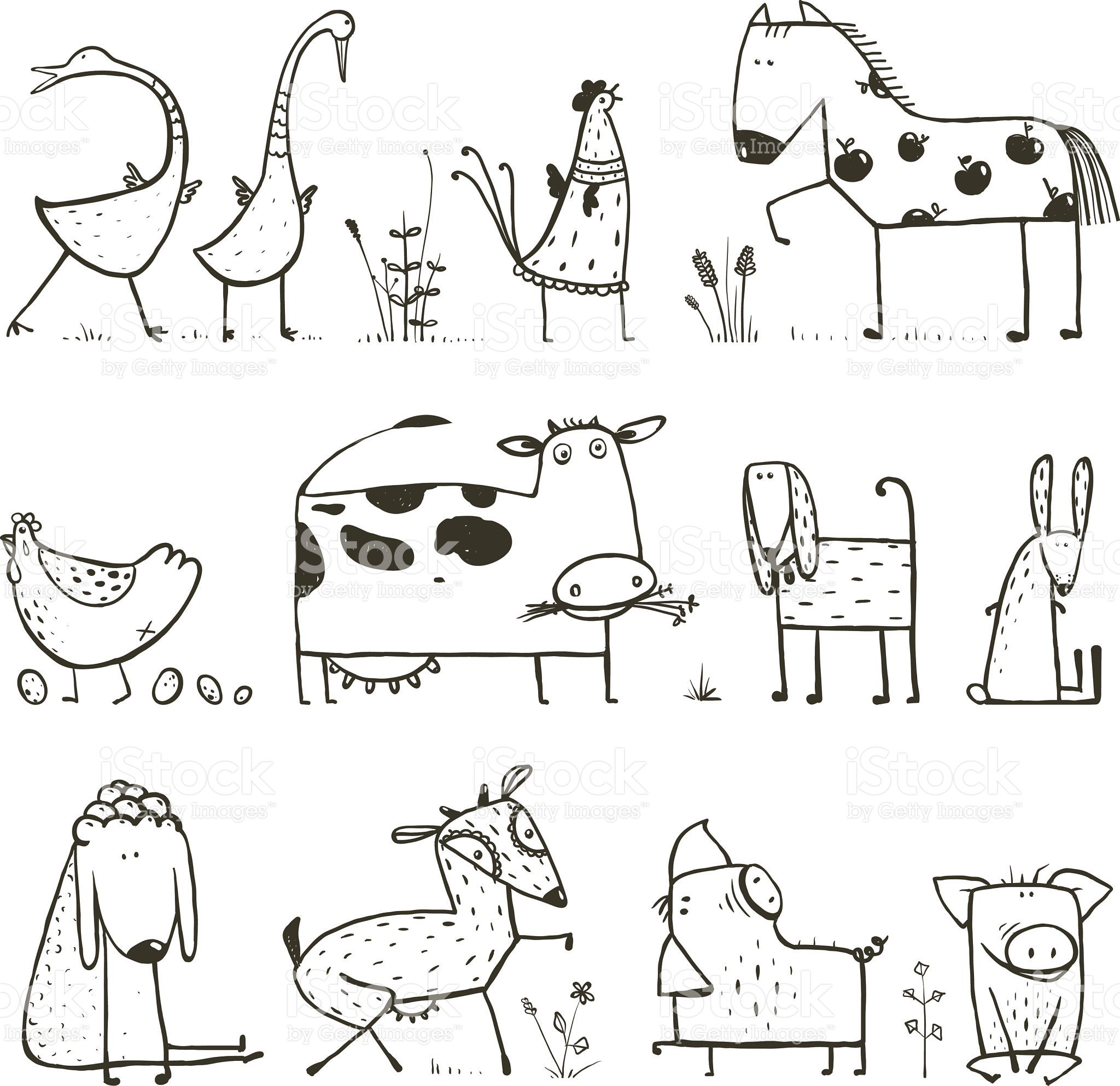 Countryside cottage animals illustration for children coloring book….