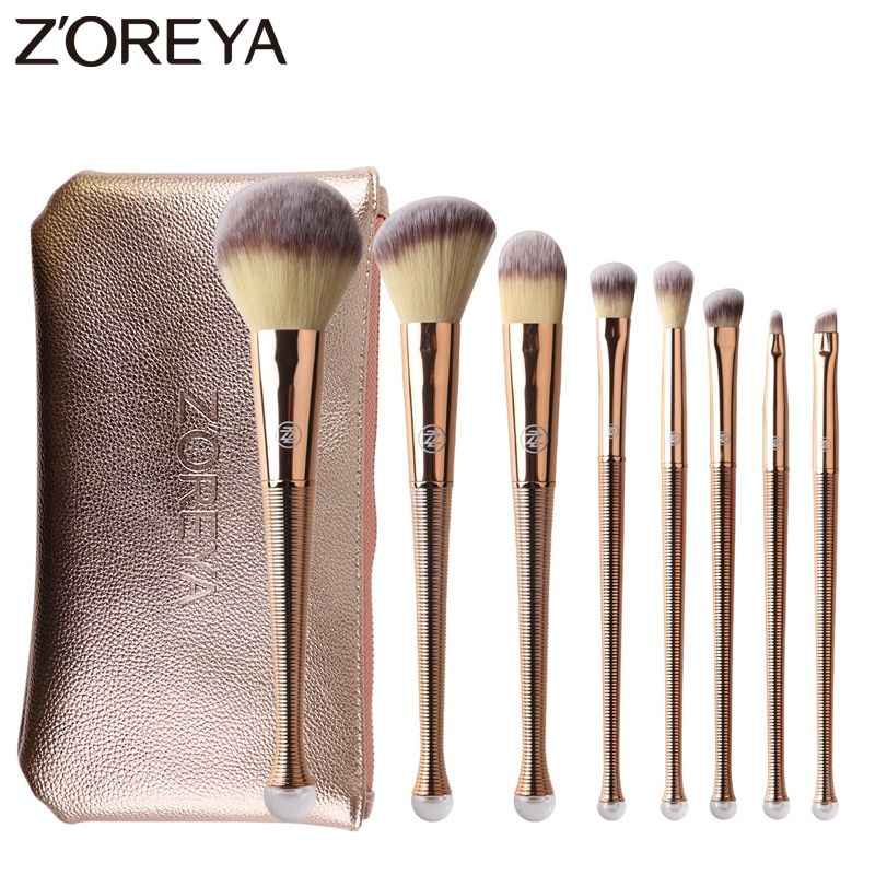 Zoreya Brand 8Pcs Rose Gold Makeup Brushes Mermaid