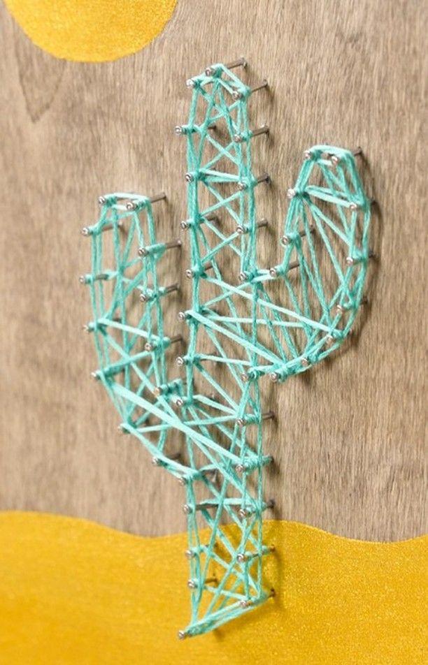 "Crafty on Instagram: ""Make A Point With Cactus String Art🌵💛 . . . . . . #crafty #diplycrafty #getcraftier #handmade #diy #makersgonnamake #oddlysatisfying…"""