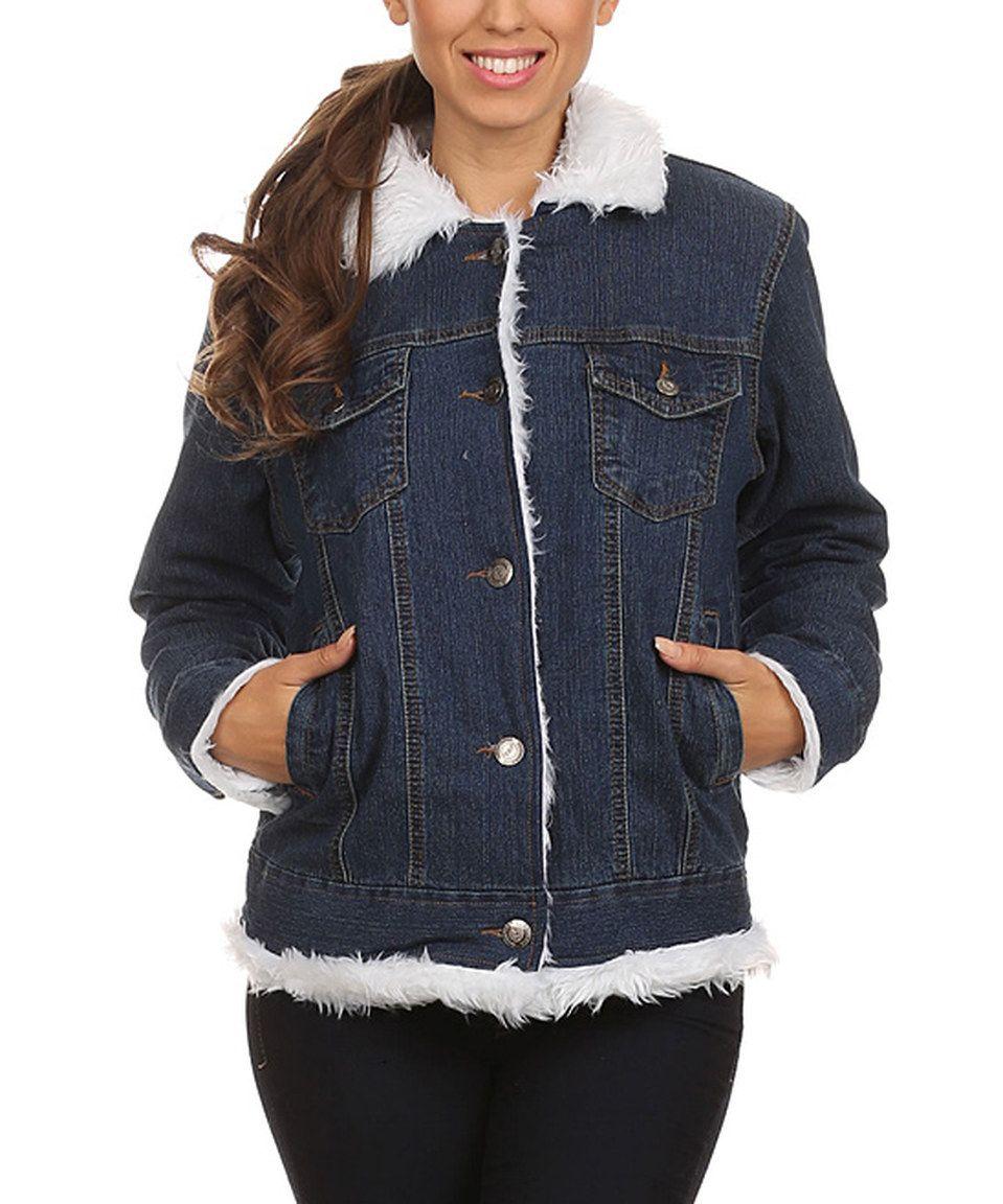 Love this Blue & White Faux Fur-Trimmed Denim Jacket by Karen T. Design on #zulily! #zulilyfinds
