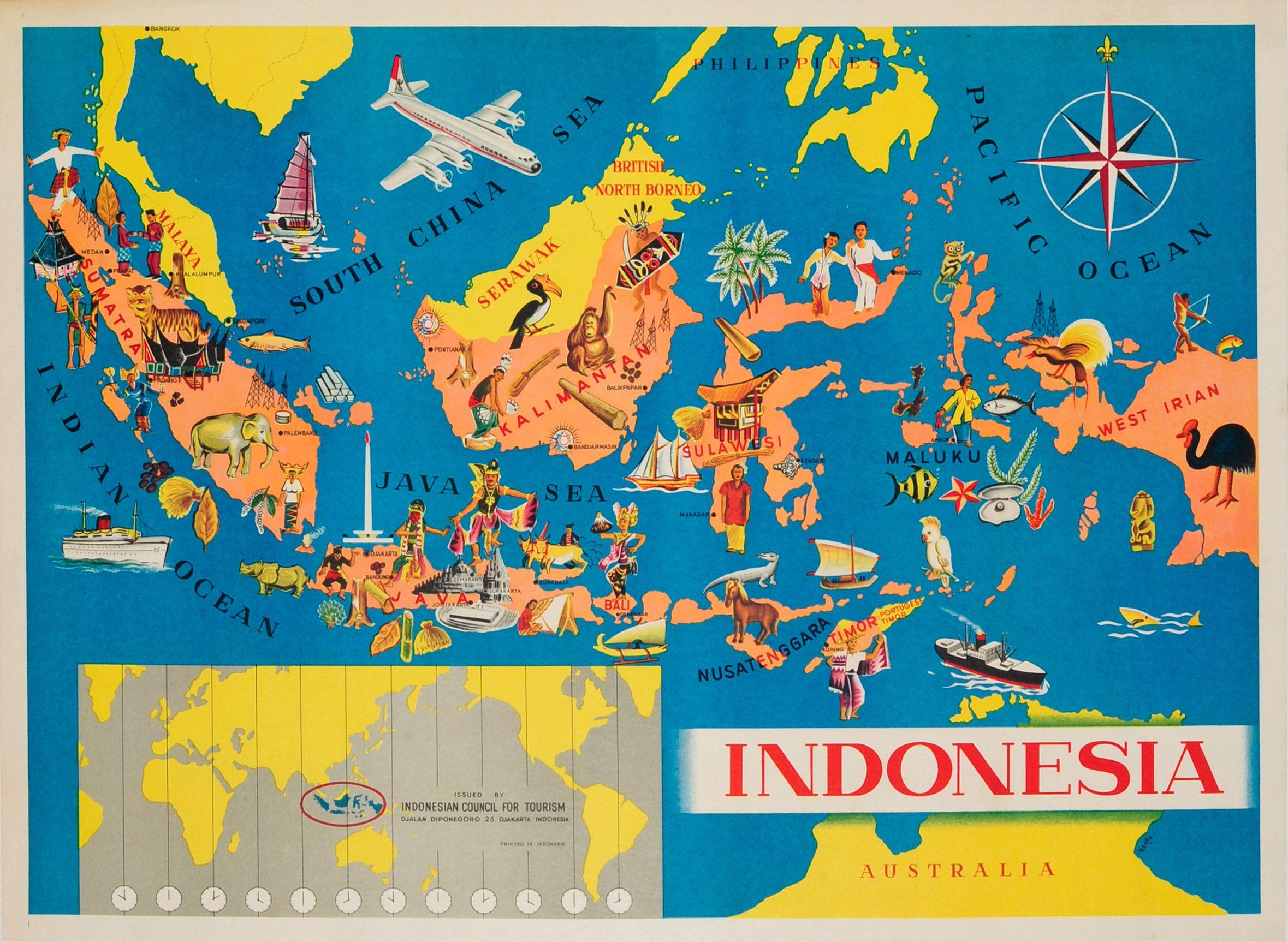 Indonesia pictorial map 1950s original vintage poster listed on indonesia pictorial map 1950s original vintage poster listed on antikbar gumiabroncs Images