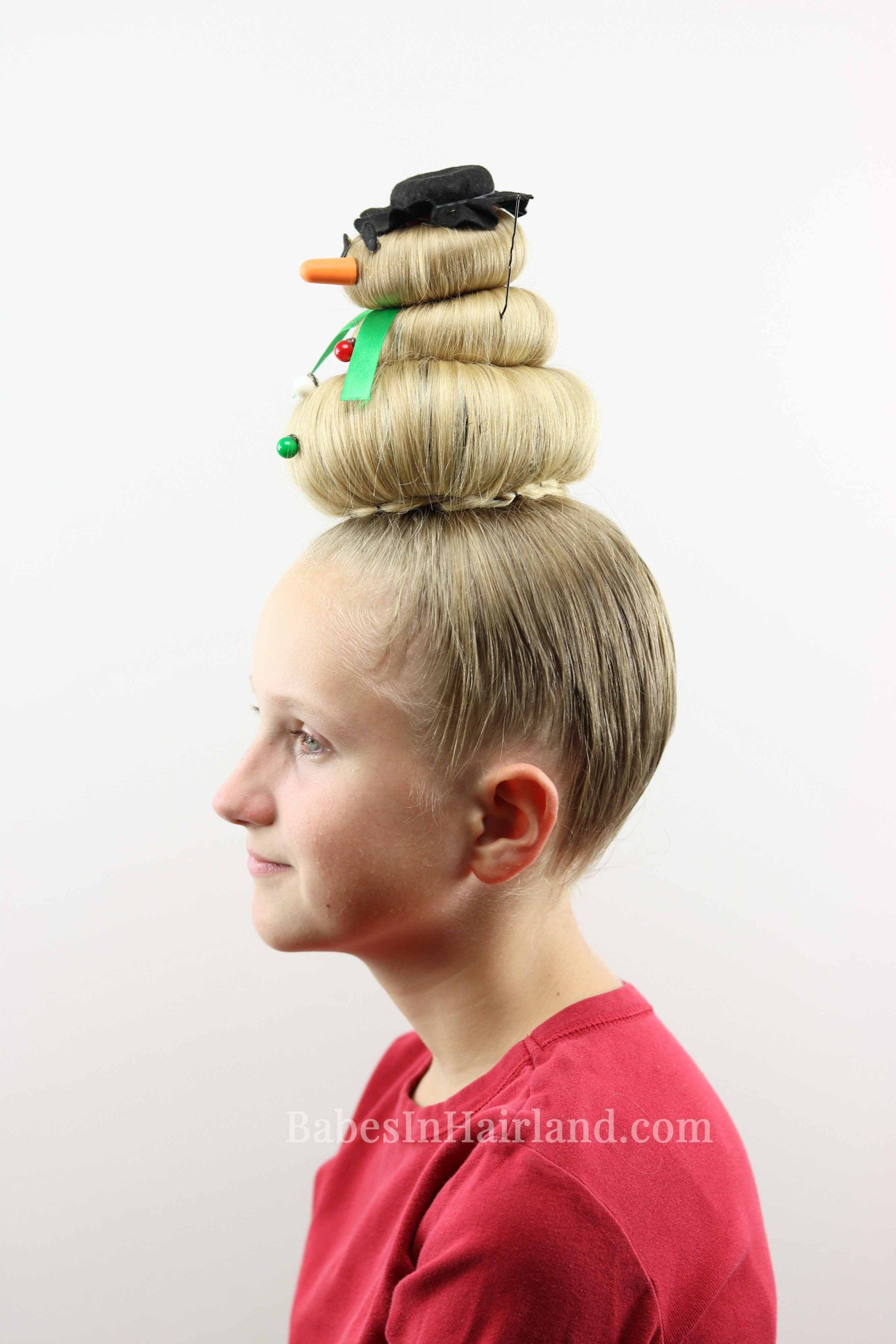 Snowman hairstyle for crazy hair day or christmas crazy hair and