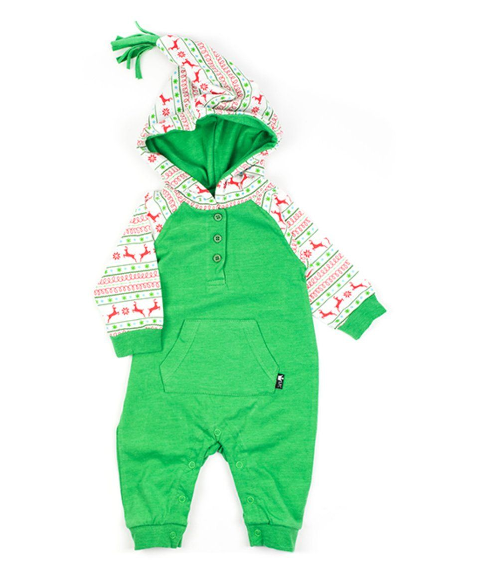 5d64c63a6e4a Take a look at this Littlest Prince Couture Green   Holiday Nordic Hoodie  Romper - Infant today!