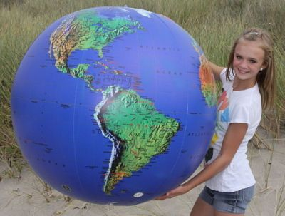 """American Educational 48/"""" Inflatable World Globe In Blue"""