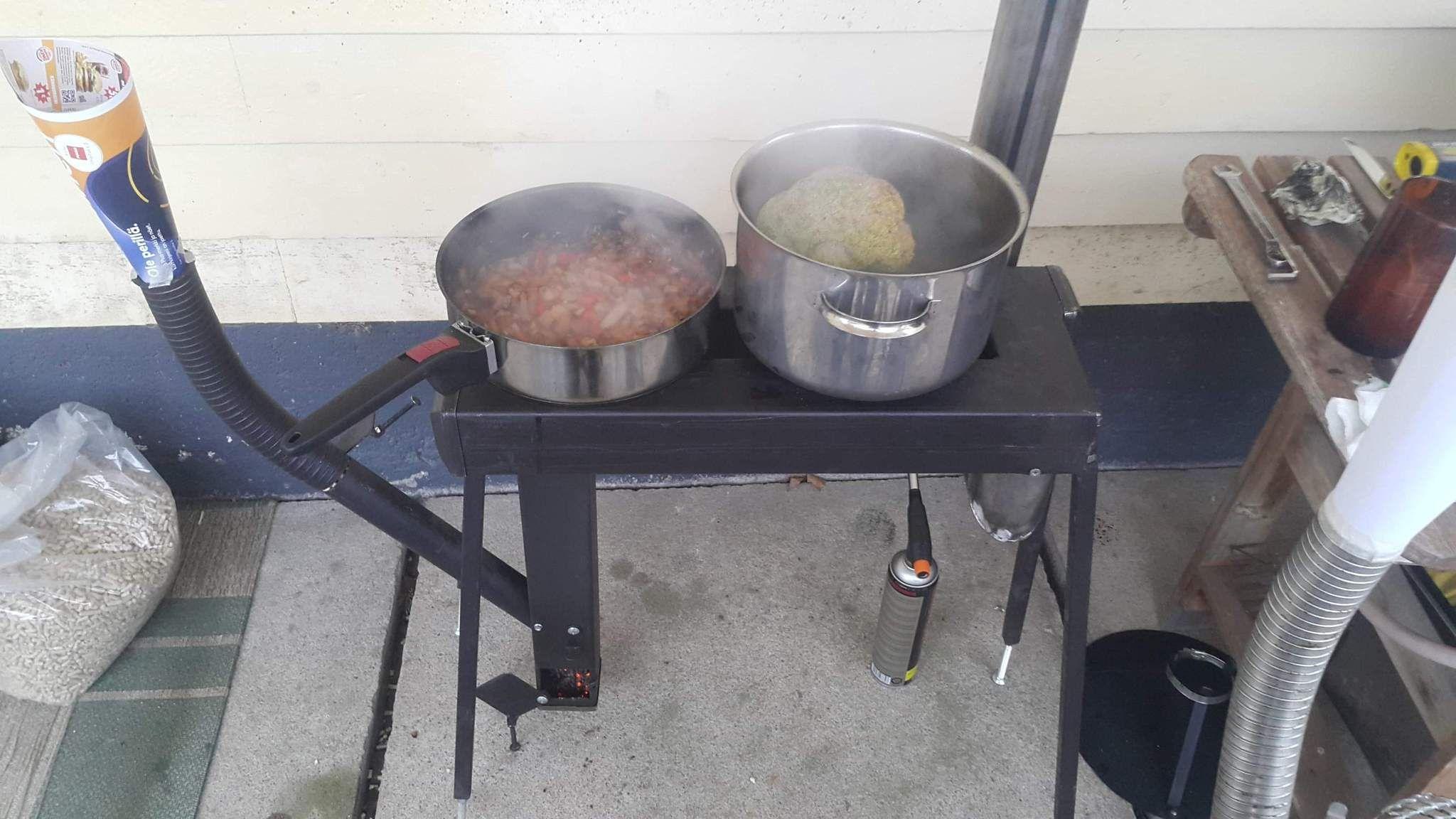 CHP-CS Wood Pellet Stove Tent Camp Cooktop Heat Exchanger ...