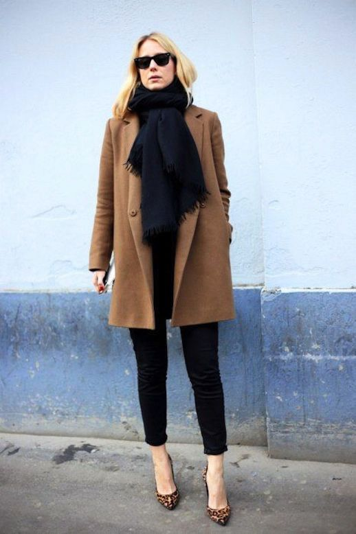Women's Brown Coat, Navy Chinos, Brown Leopard Leather Pumps ...