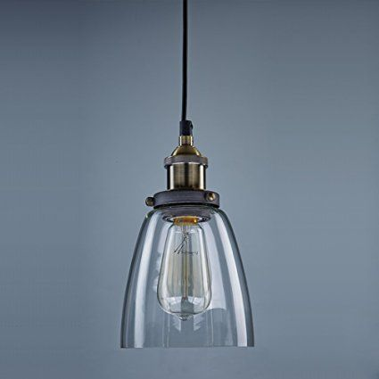 Lightess Industrie Retro Hängelampe Glas Shade Anhänger ...