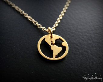 World map necklace sterling silver globe pendant by sevgijewelry world map necklace gold vermeil travel necklace gold globe pendant traveler jewelry world charm gold filled necklace gumiabroncs Image collections