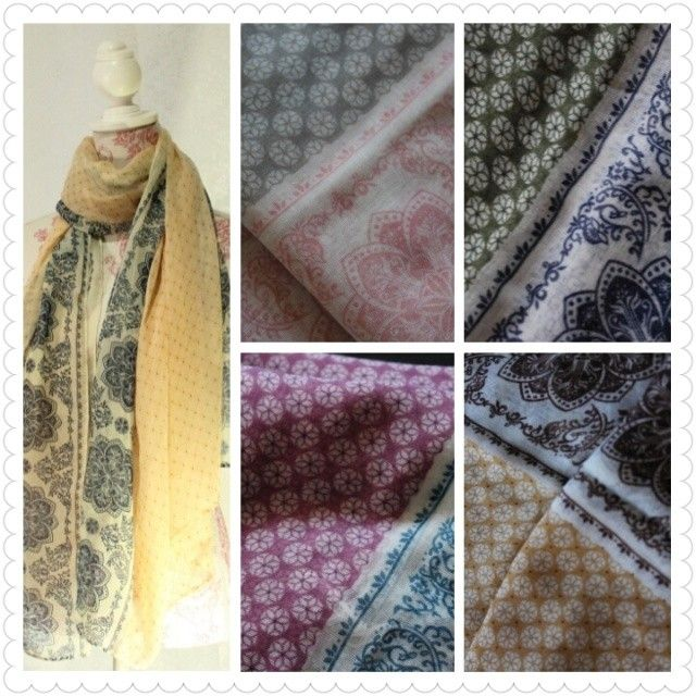 "@Chiffon & Silk's photo: ""Floral Print Scarf Price: $8.50 USD  Size: 90 x 180 cm  Material: Viscose  Colors available: Grey/pink, maroon/navy, mustard/brown, olive/navy, & yellow/navy."""