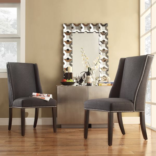 Inspire Q Geneva Dark Grey Fabric Wingback Hostess Chairs Set Of 2