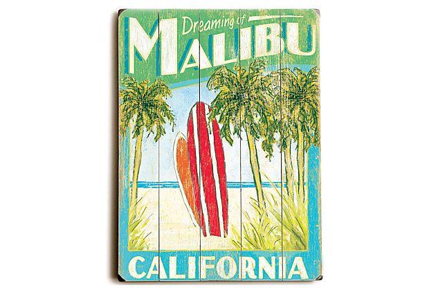 One Kings Lane Artehouse Malibu Surfboards Wood Sign Vintage Surfboards Vintage Wood Signs Vintage Surf