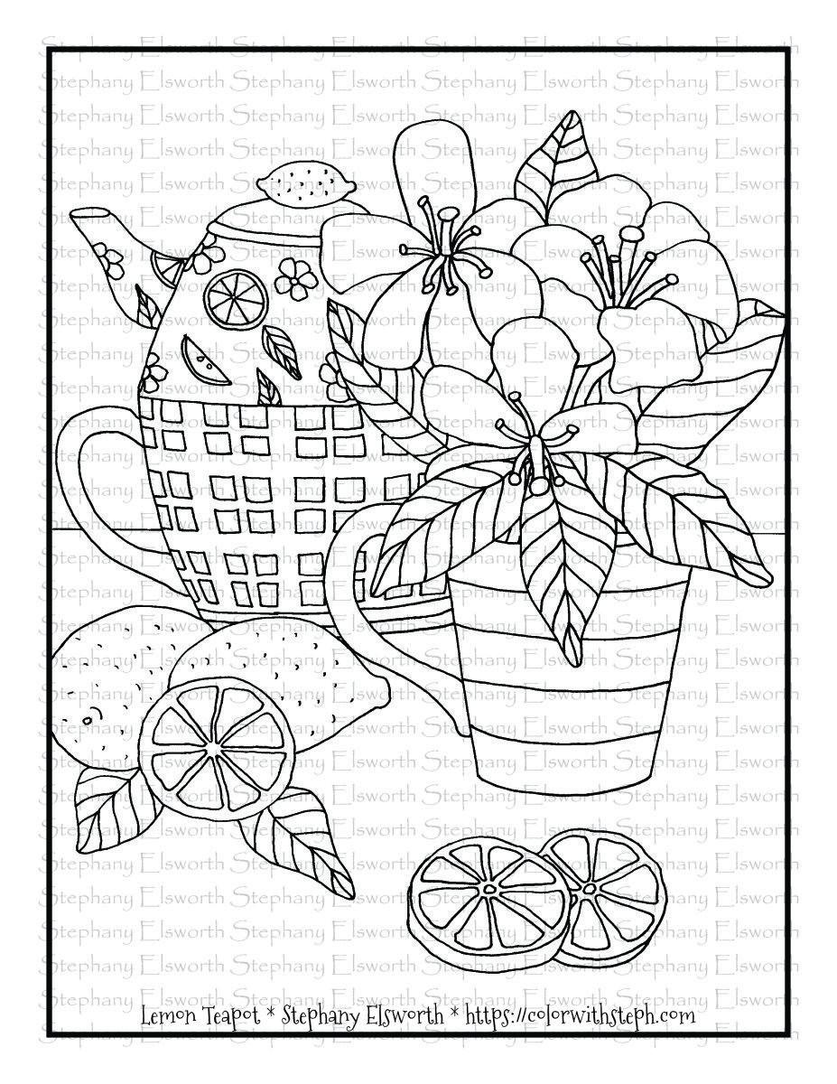 Lemon Teapot Free 8 1 2 X 11 Printable Coloring Page Color With Steph In 2020 Printable Coloring Pages Coloring Pages Free Coloring Pages