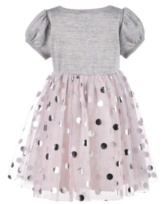 68a0f8fa2 Blueberi Boulevard Baby Girls Sweater-Knit Tulle Dress - Gray 18 months