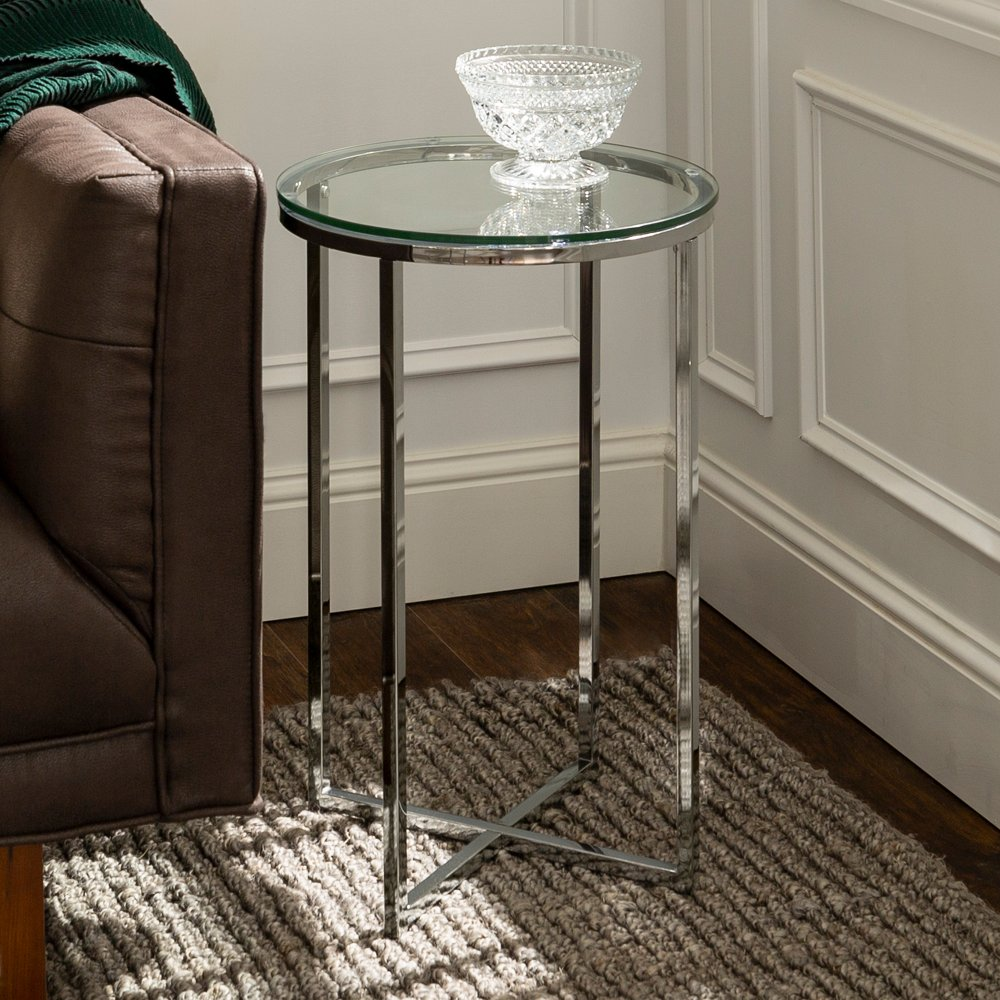 Round Side Table Glass Chrome Glass Side Tables Living Room Accent Tables Classy Side Table