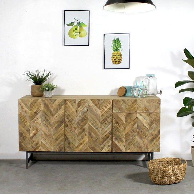 Buffet bois massif design chevrons hc22