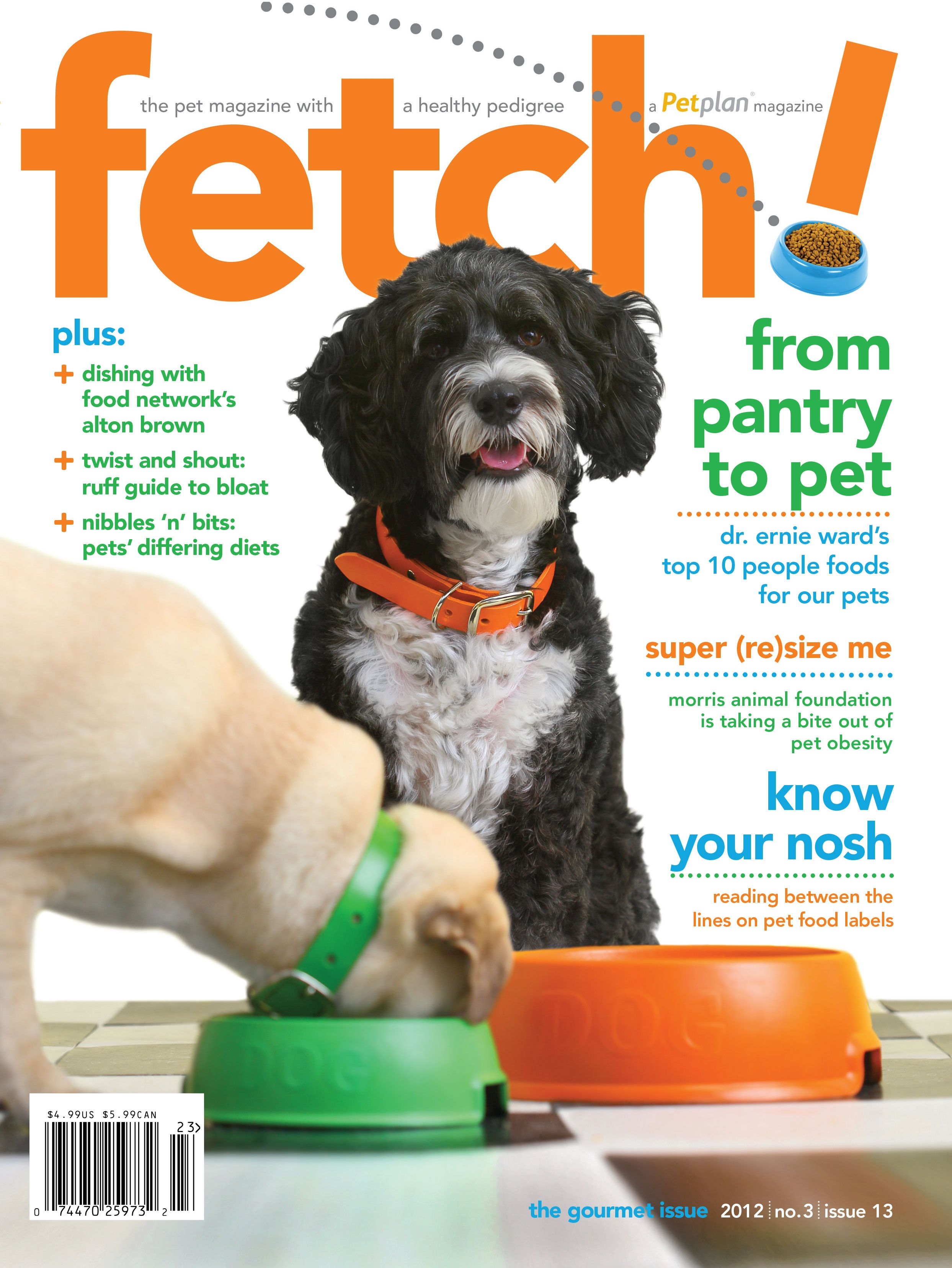 """In the Gourmet issue of fetch! magazine, Petplan #pet-insurance serves up a heaping helping of vet-authored pet health tips, as well as an interview with Food Network star Alton Brown! Read on to find tips on understanding pet food labels, learning the signs of bloat, and feeding Dr. Ernie Ward's Top 10 """"superfoods"""" for pets!"""