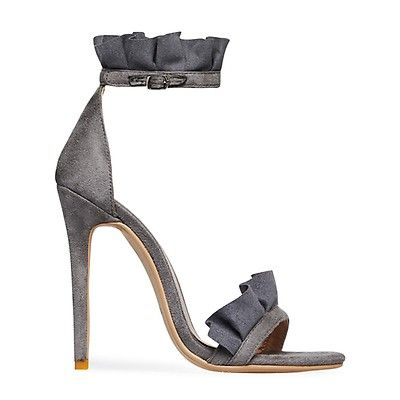 3cee5a098f3d Florence Frill Detail Heel In Grey Faux Suede