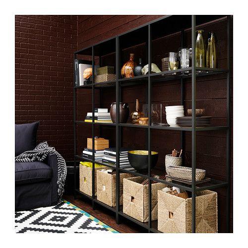 Pin By Reham Hany On Open Shelving: VITTSJÖ Shelf Unit, Black-brown, Glass