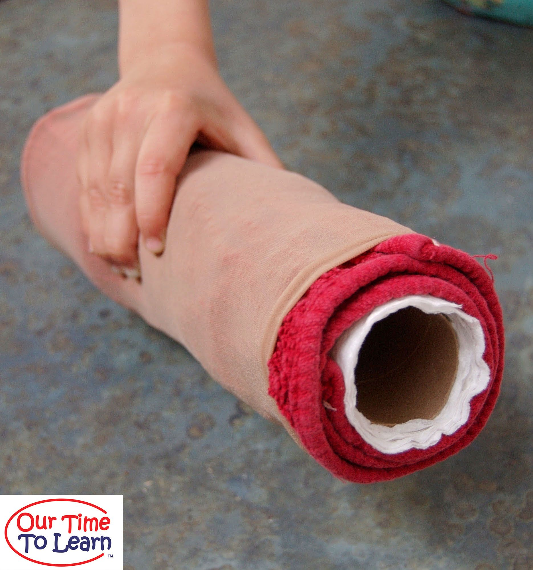 Make A Model Of A Leg With Bone Muscles And Skin We Took A Not Quite Used Up Paper Towel Roll