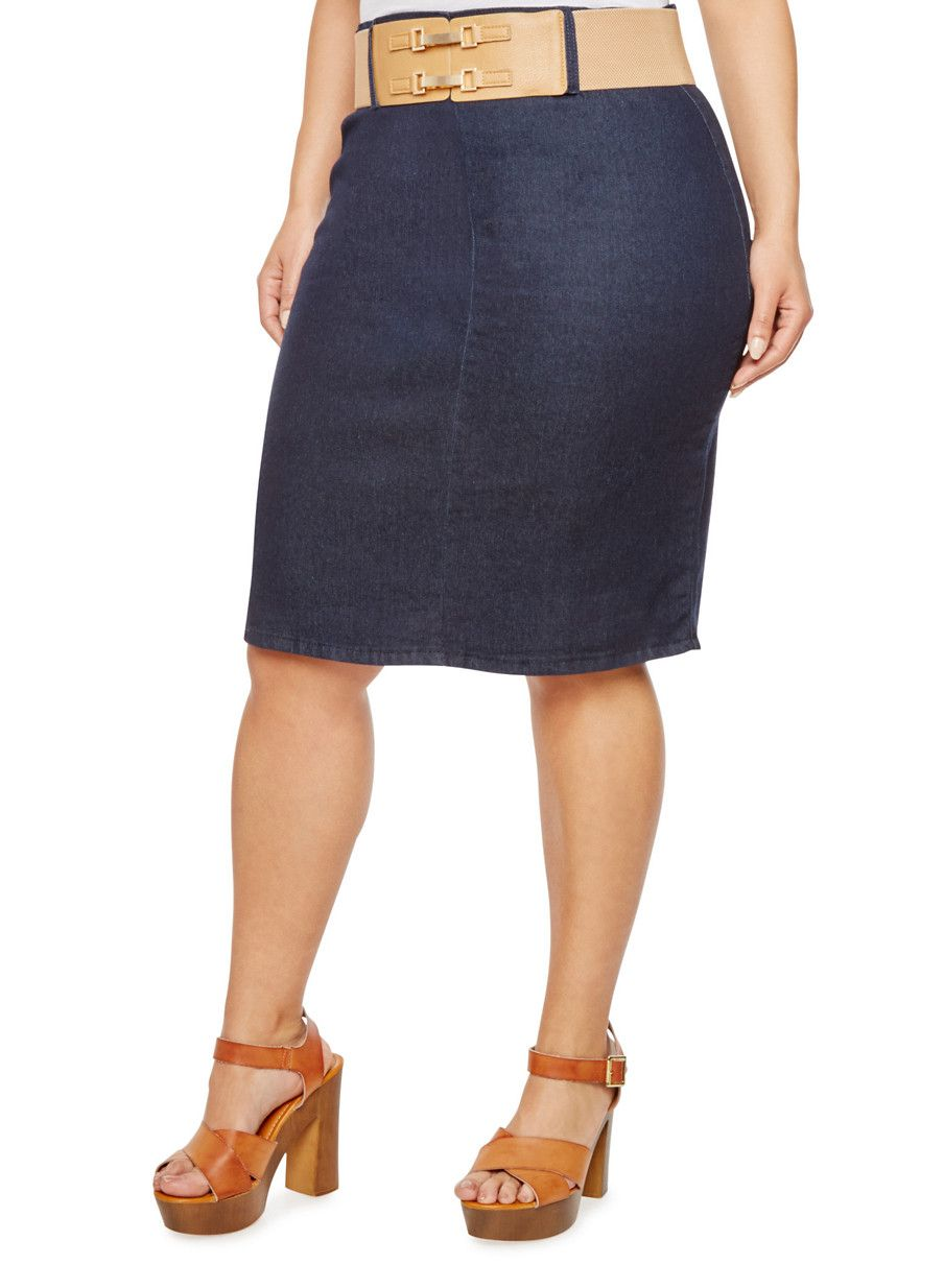 fb91eedca26 Complete your all-season wardrobe with this sleek denim pencil skirt ...