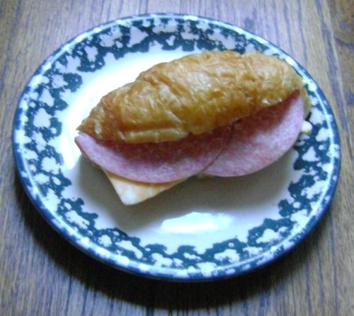 Salami And Cheese Sandwich On A Croissant