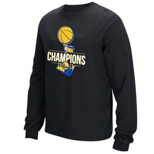 cee4ac7a89b Golden State Warriors 2017 NBA Finals Champions Primary Logo Long Sleeve Tee  - Black