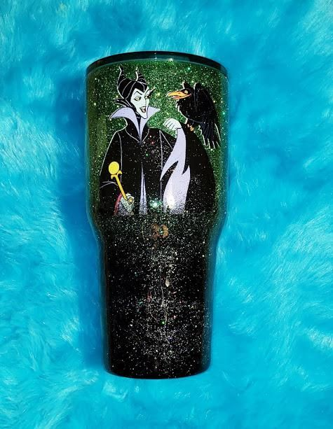Maleficent Sleeping Beauty Christmas Tumblers Glitter