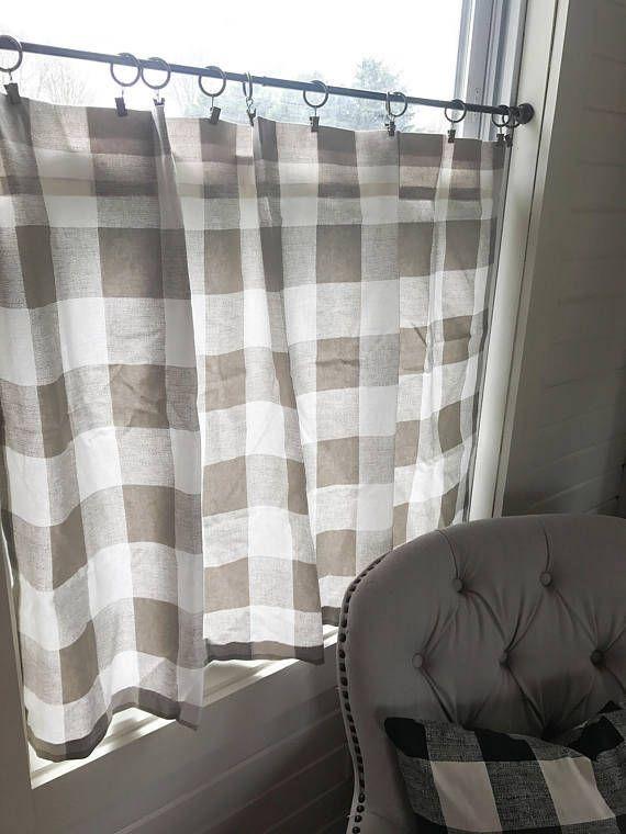 1 plaid cafe curtain plaid buffalo plaid window treatments curtains buffalo check on farmhouse kitchen curtains id=52263