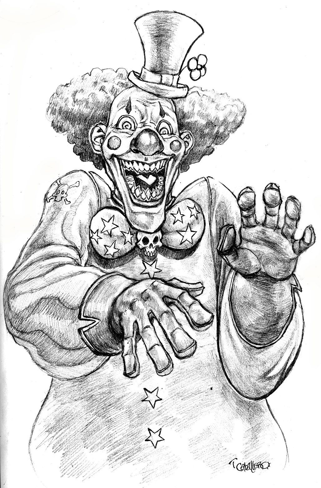 Evil Clown Drawings Scary Clown Drawing Drawings Caricature Sketch