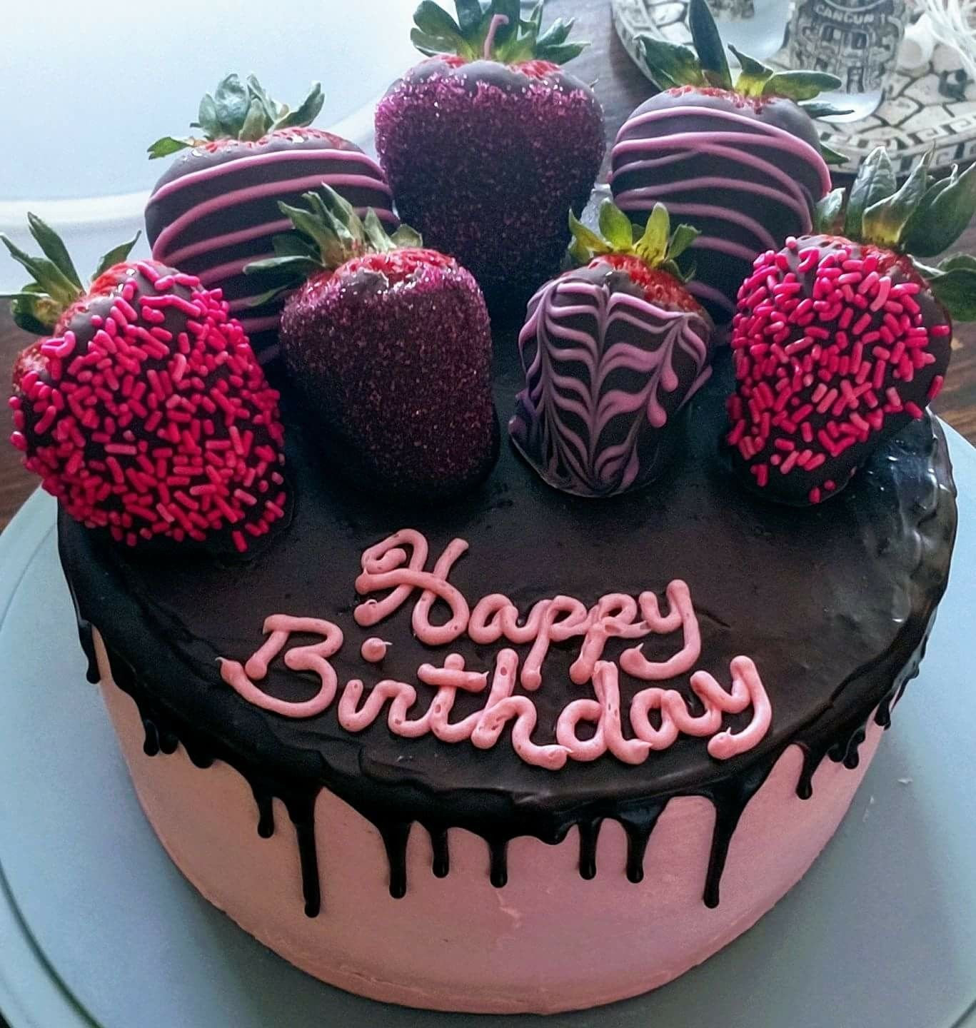 Awe Inspiring Birthday Cake Chocolate Covered Strawberry Drip Cake With Funny Birthday Cards Online Inifofree Goldxyz